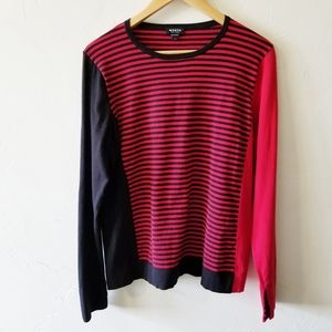 Worth Black & Red Striped Long Sleeve Sweater